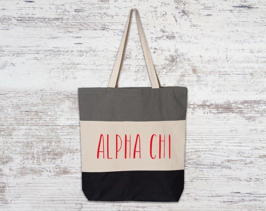 Alpha Chi Omega Tri Color Tote Bag