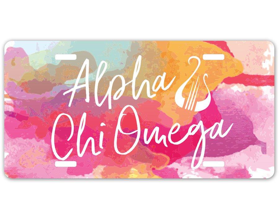 Alpha Chi Omega Watercolor Script License Plate