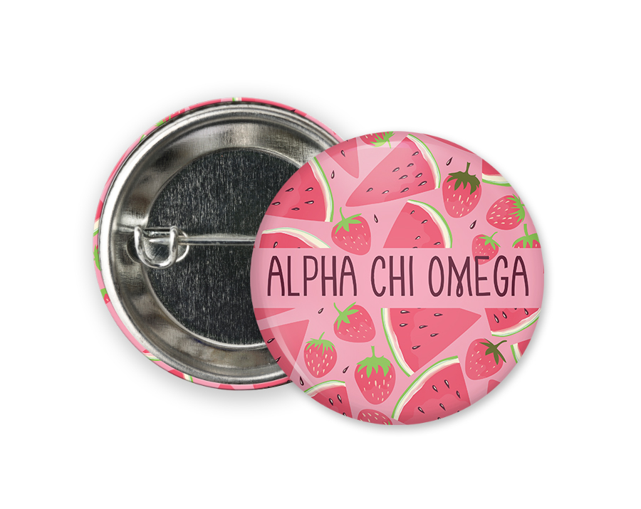 Alpha Chi Omega Watermelon Strawberry Button