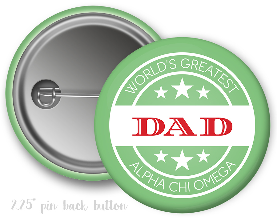 Alpha Chi Omega World's Greatest Dad Button