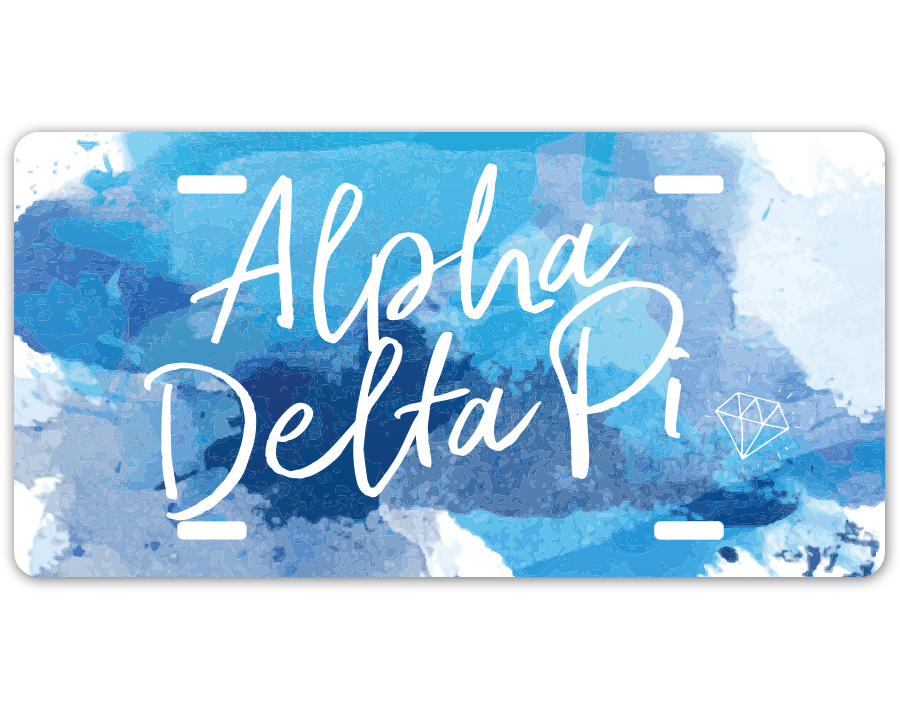 Alpha Delta Pi Watercolor Script License Plate