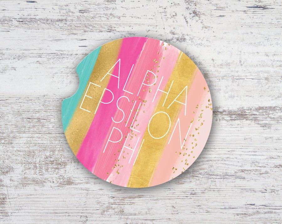 Alpha Epsilon Phi Bright Stripes Sandstone Car Cup Holder Coaster