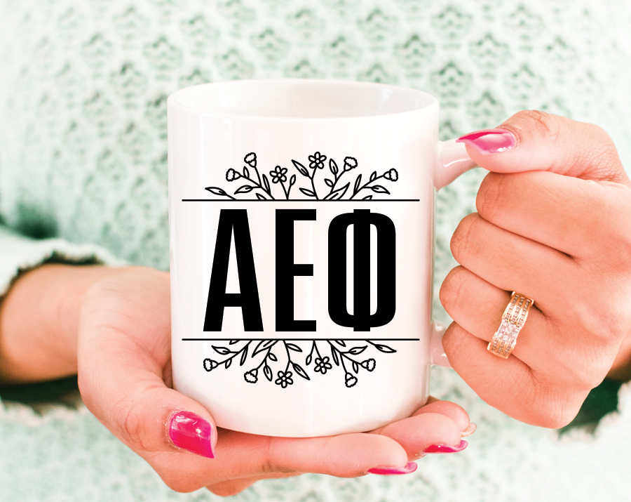 Alpha Epsilon Phi Floral Letters Mug