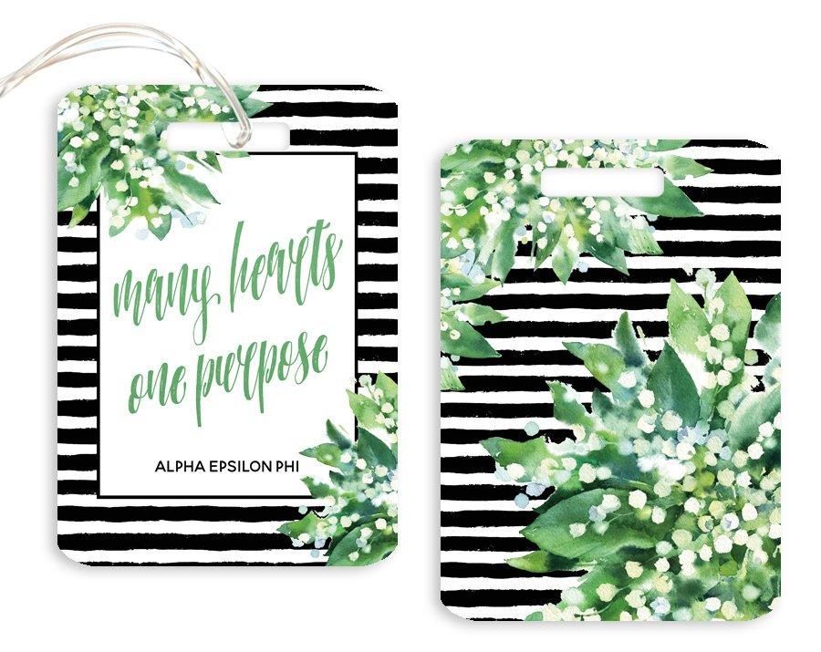 Alpha Epsilon Phi Floral Motto Luggage Tag