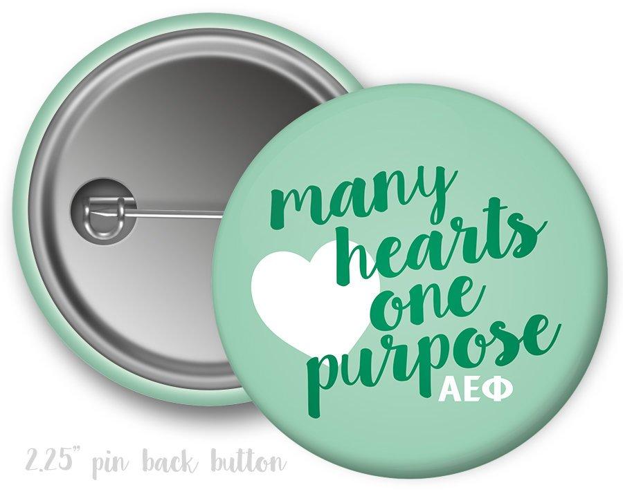 Alpha Epsilon Phi Many Hearts One Purpose Button
