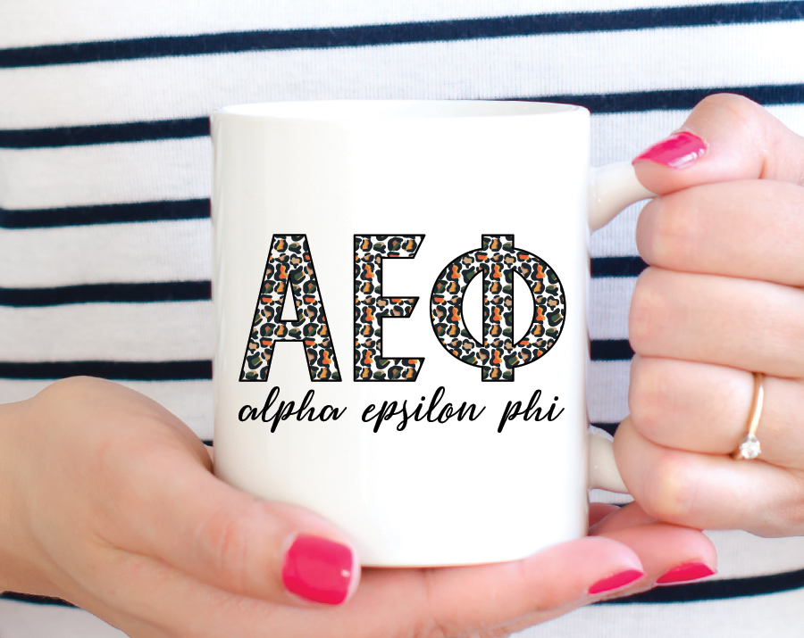 Alpha Epsilon Phi Leopard Mug