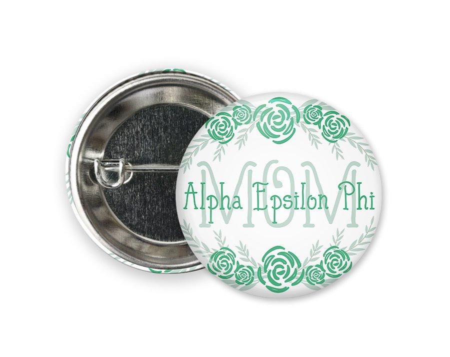 Alpha Epsilon Phi Mom Floral Button