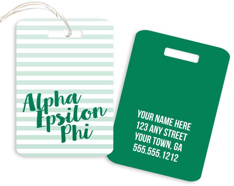 Alpha Epsilon Phi Personalized Striped Luggage Tag
