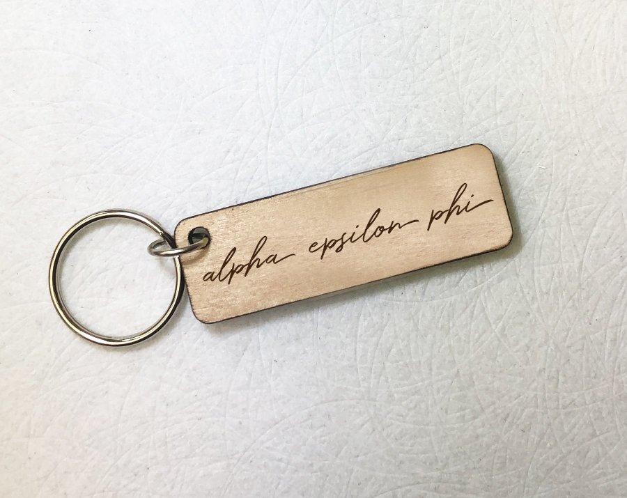 Alpha Epsilon Phi Rectangle Script Keychain