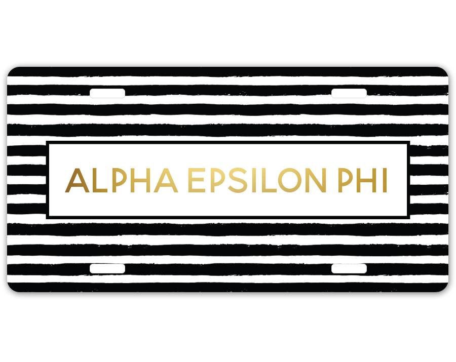 Alpha Epsilon Phi Striped Gold License Plate