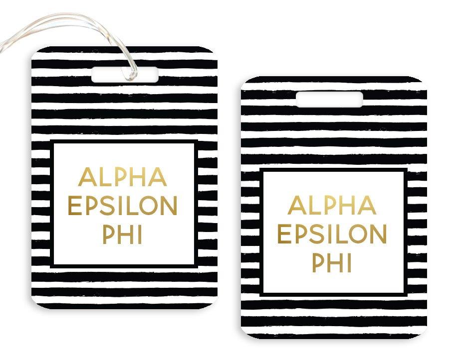 Alpha Epsilon Phi Striped Gold Luggage Tag