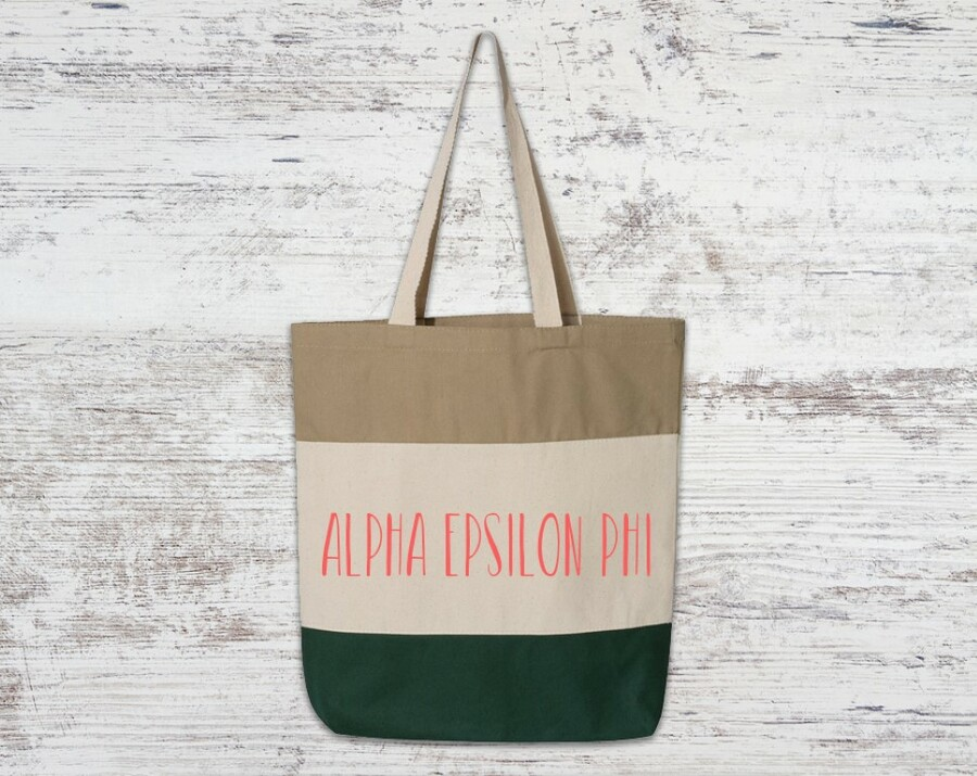 Alpha Epsilon Phi Tri Color Tote Bag