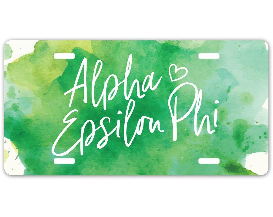 Alpha Epsilon Phi Watercolor Script License Plate