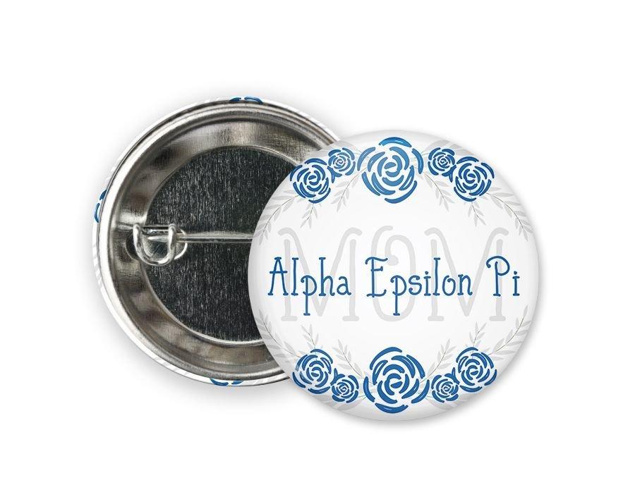 Alpha Epsilon Pi Mom Floral Button