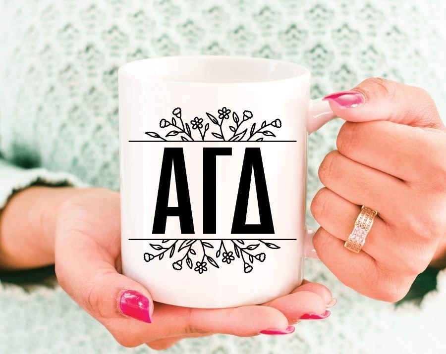 Alpha Gamma Delta Floral Letters Mug