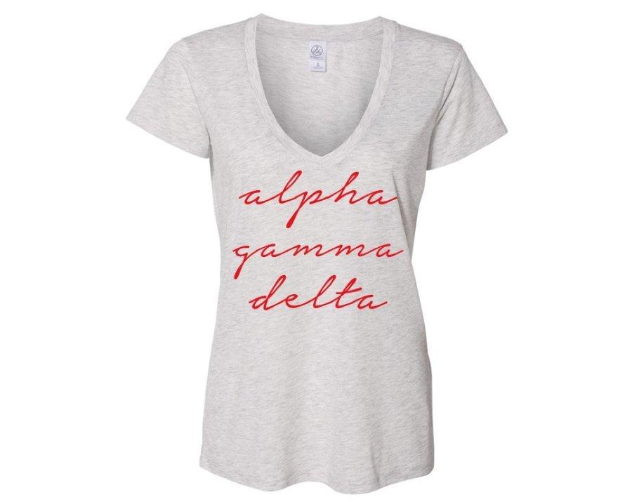 Alpha Gamma Delta Script Slinky Vneck