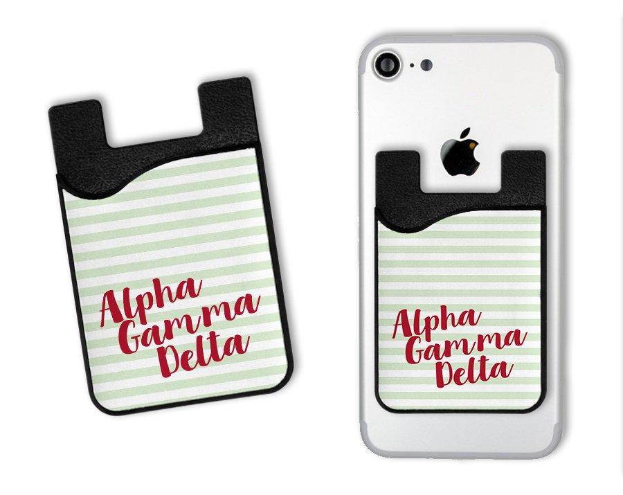Alpha Gamma Delta Sorority Stripes Caddy Phone Wallet