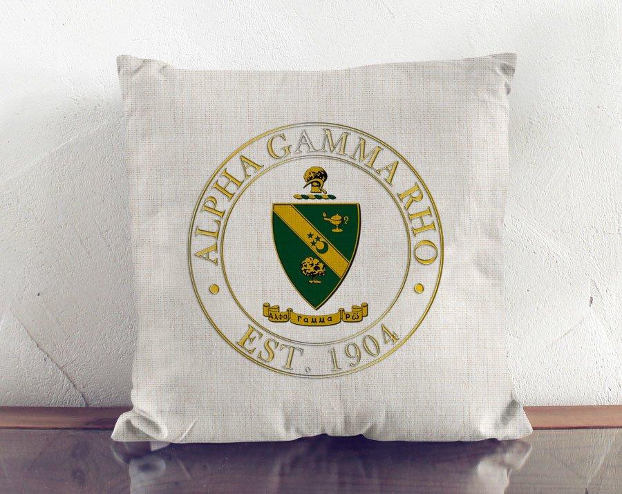 Alpha Gamma Rho Crest Linen Pillow