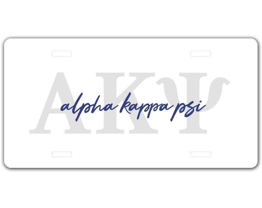 Alpha Kappa Psi Letter Script License Plate
