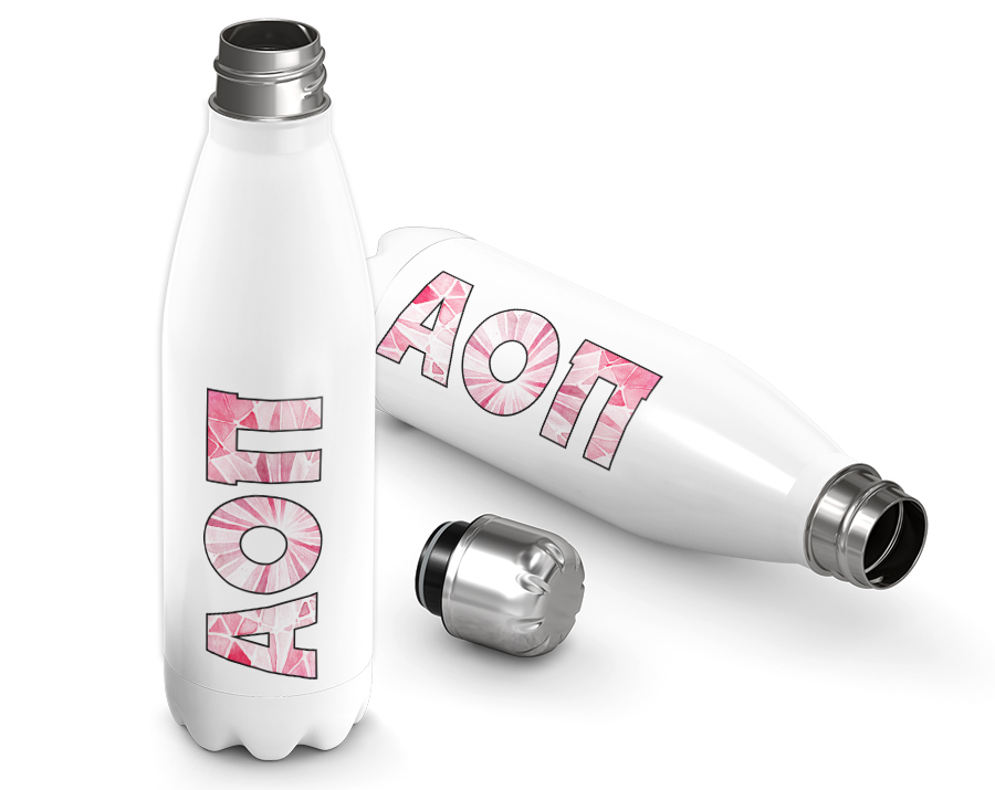 Alpha Omicron Pi Jewel Letters Stainless Steel Water Bottle