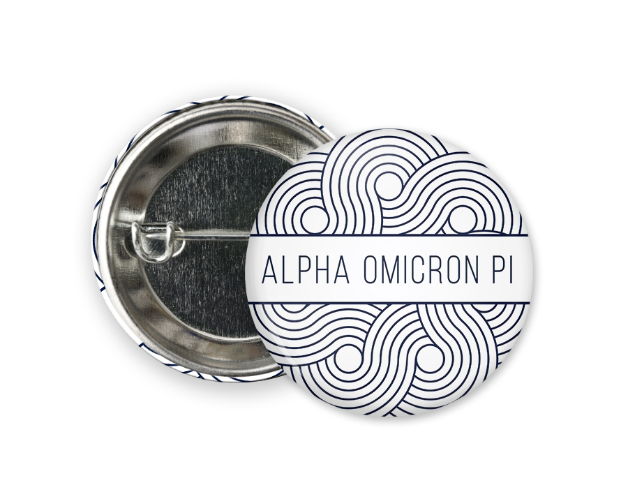 Alpha Omicron Pi Geo Scroll Button Pin