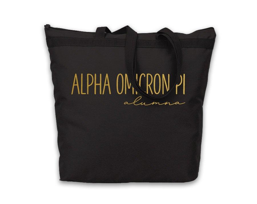 Alpha Omicron Pi Gold Foil Alumna Tote