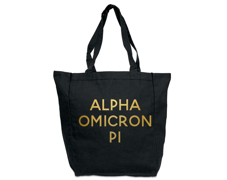Alpha Omicron Pi Gold Foil Tote bag