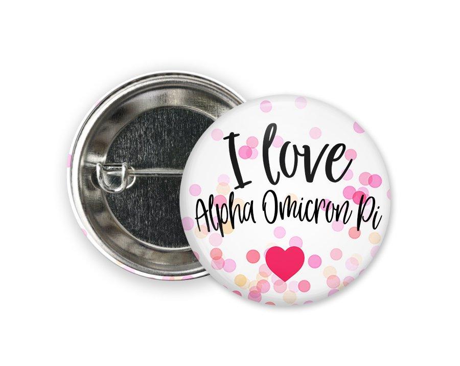 Alpha Omicron Pi I Love Heart Bursting Button