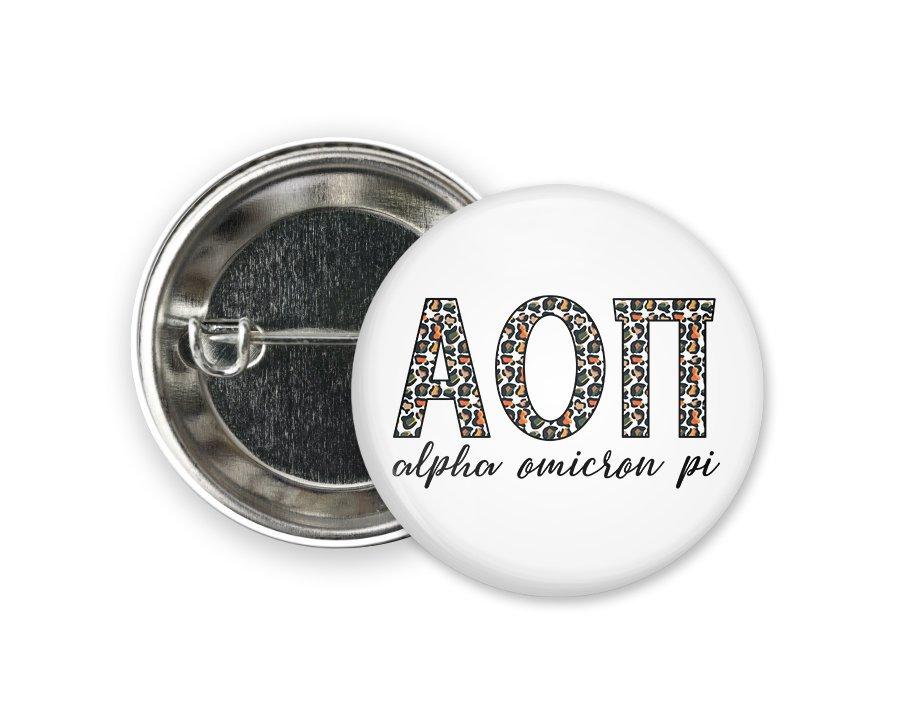 Alpha Omicron Pi Leopard Button