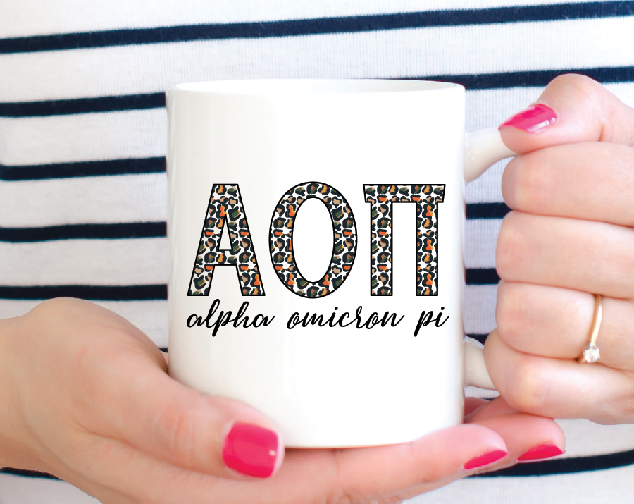 Alpha Omicron Pi Leopard Mug