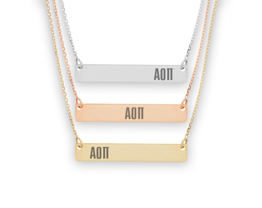 Alpha Omicron Pi Letters Bar Necklace