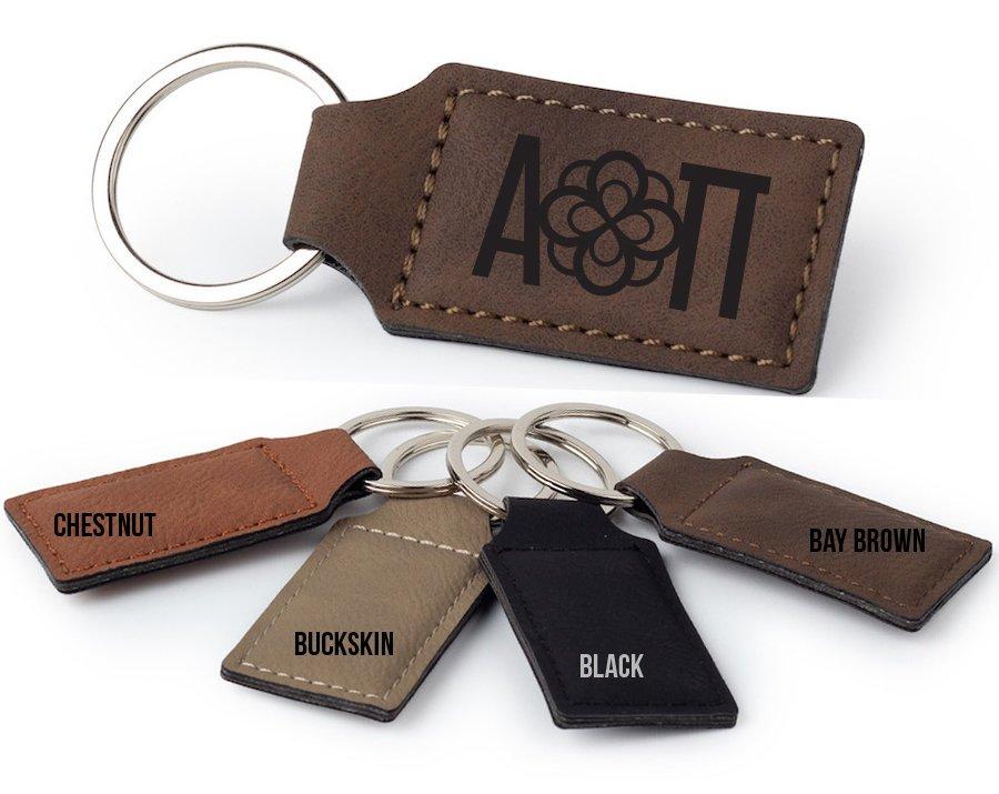 Alpha Omicron Pi Logo Rectangle Faux Leather Keychain