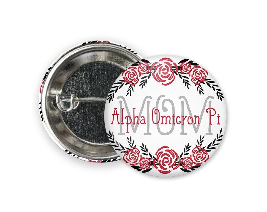 Alpha Omicron Pi Mom Floral Button