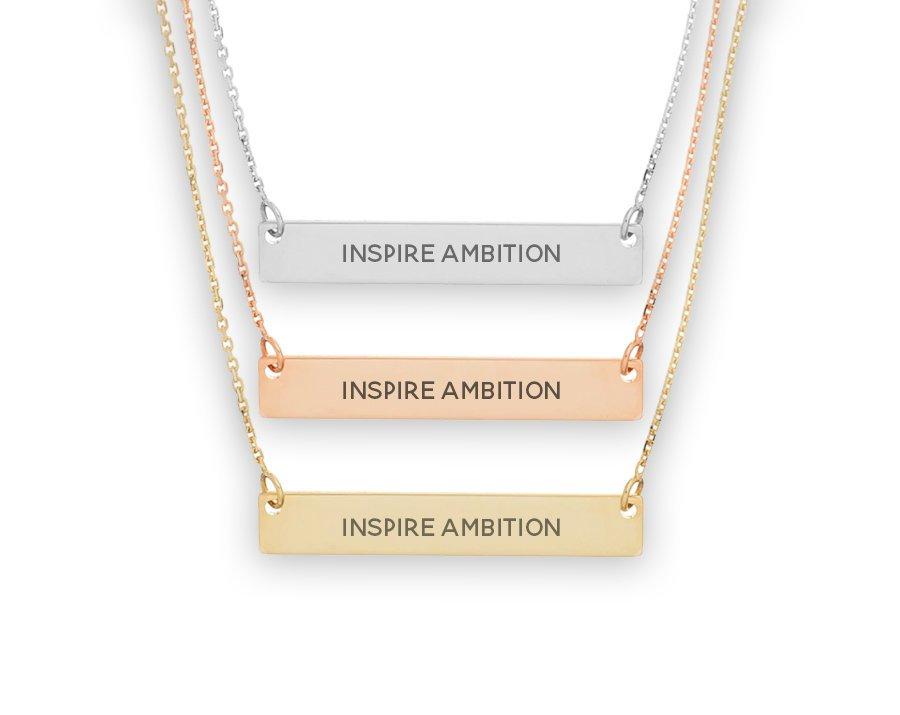 Alpha Omicron Pi Motto Bar Necklace