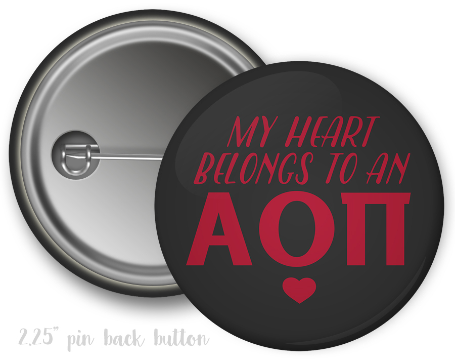 Alpha Omicron Pi My Heart Belongs to a Button