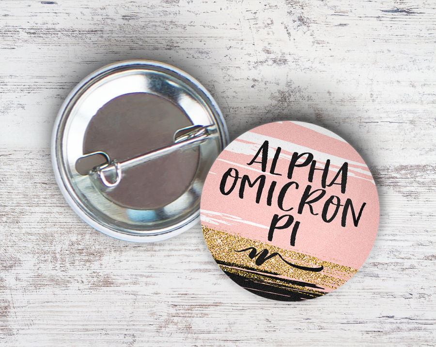 Alpha Omicron Pi Rose Gold Button