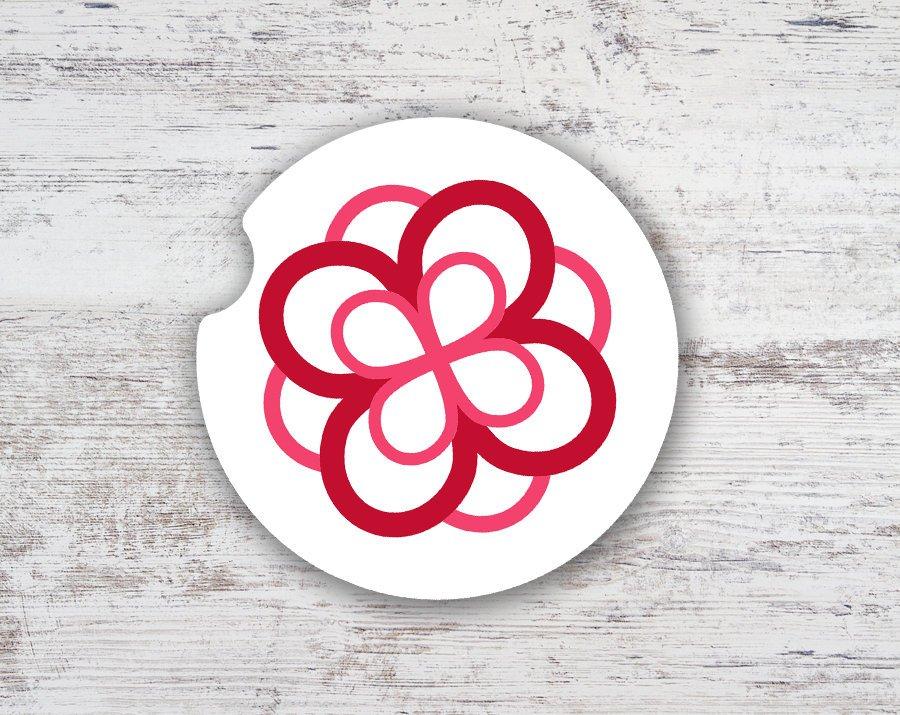Alpha Omicron Pi Sandstone Rose Car Cup Holder Coaster