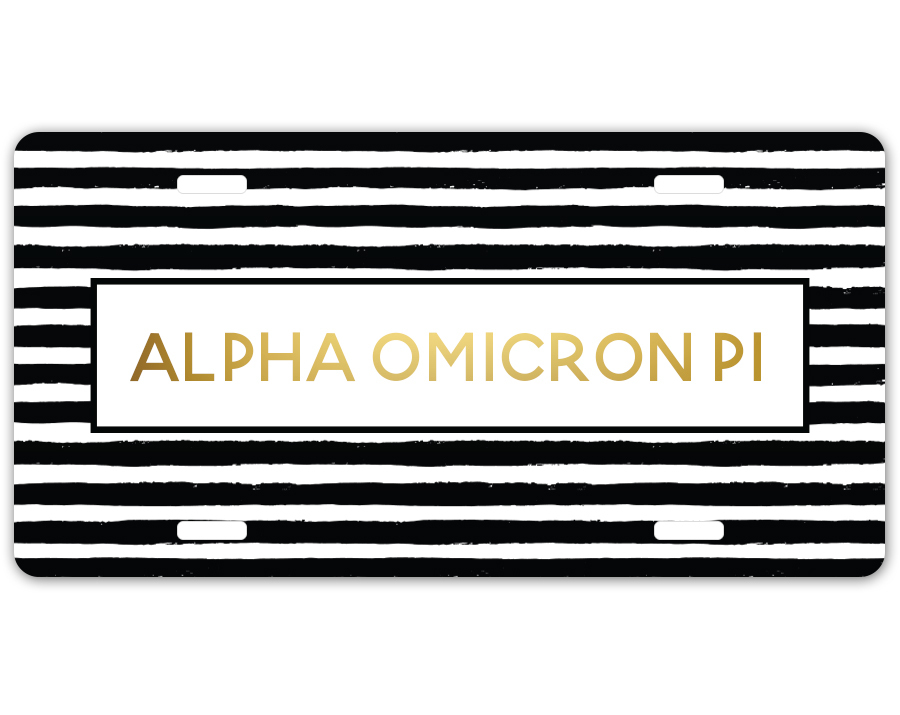Alpha Omicron Pi Striped Gold License Plate