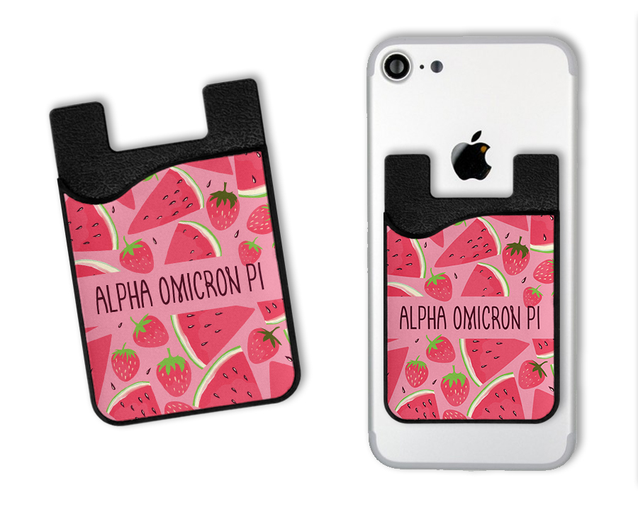 Alpha Omicron Pi Watermelon Strawberry Card Caddy