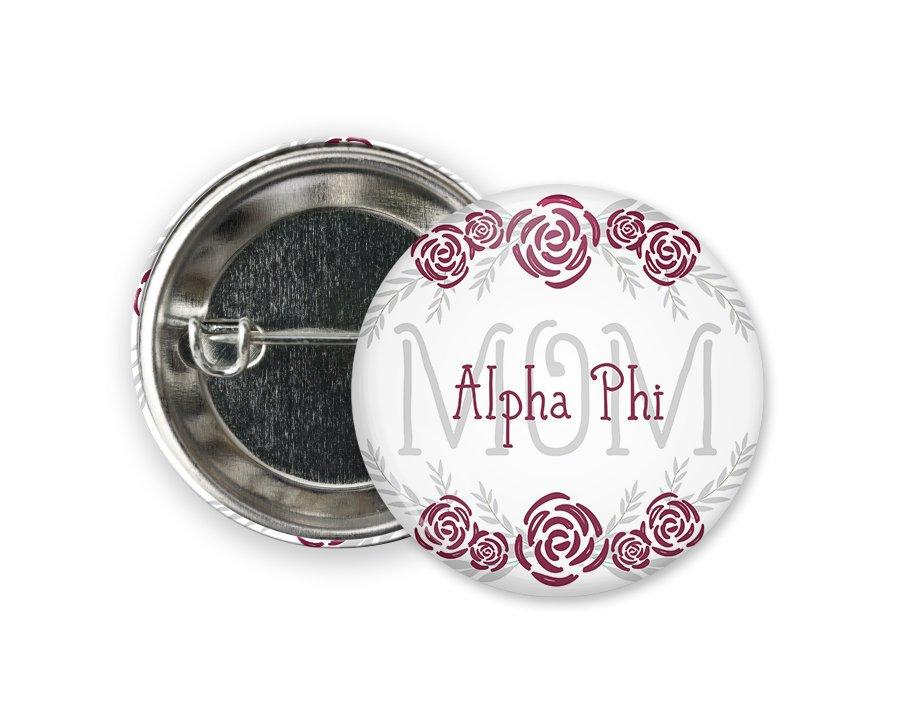 Alpha Phi Mom Floral Button