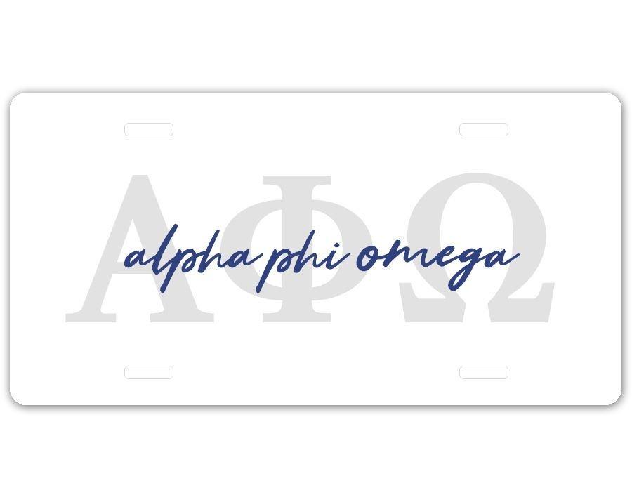 Alpha Phi Omega Letters Script License Plate