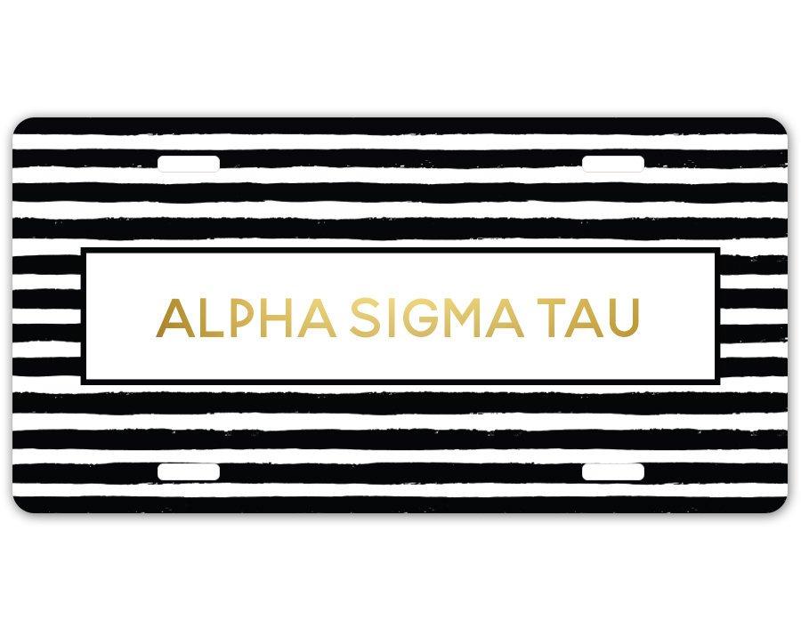 Alpha Sigma Tau Striped Gold License Plate
