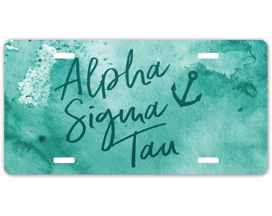 Alpha Sigma Tau Watercolor License Plate