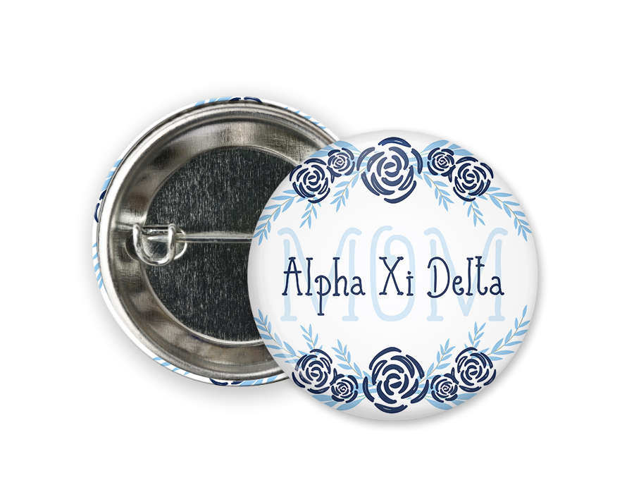 Alpha Xi Delta Mom Floral Button