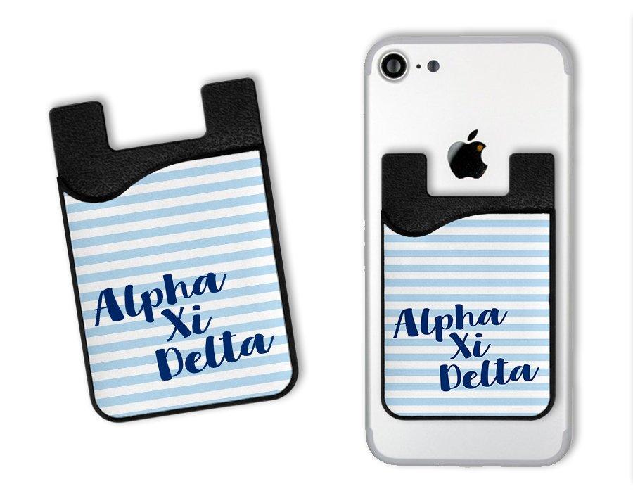 Alpha Xi Delta Sorority Stripes Caddy Phone Wallet