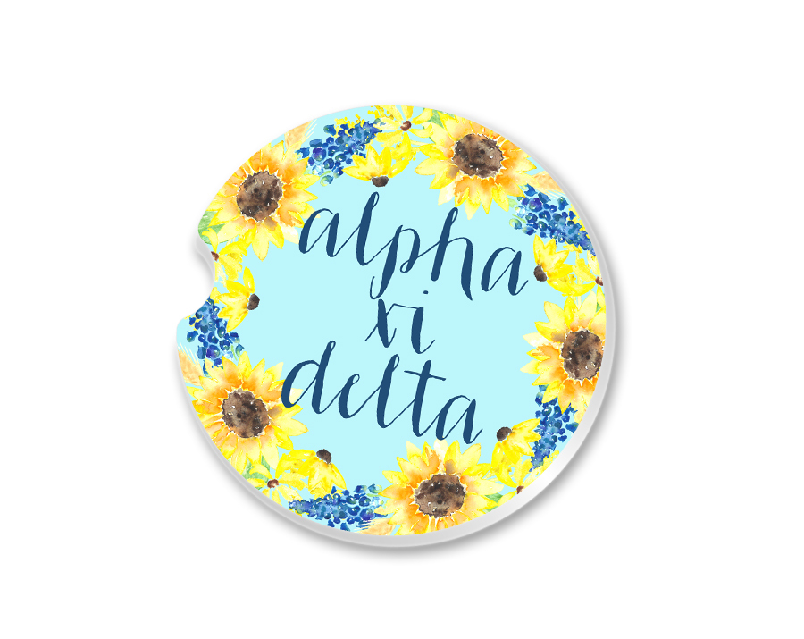 Alpha Xi Delta Sunflower Car Coaster