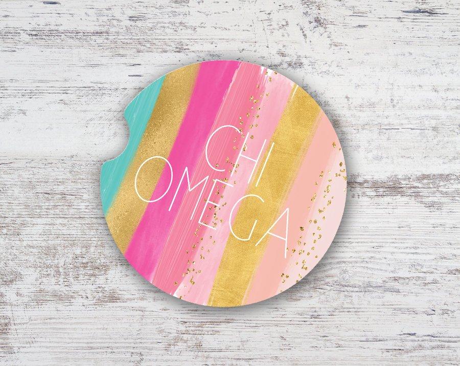Chi Omega Bright Stripes Sandstone Car Cup Holder Coaster