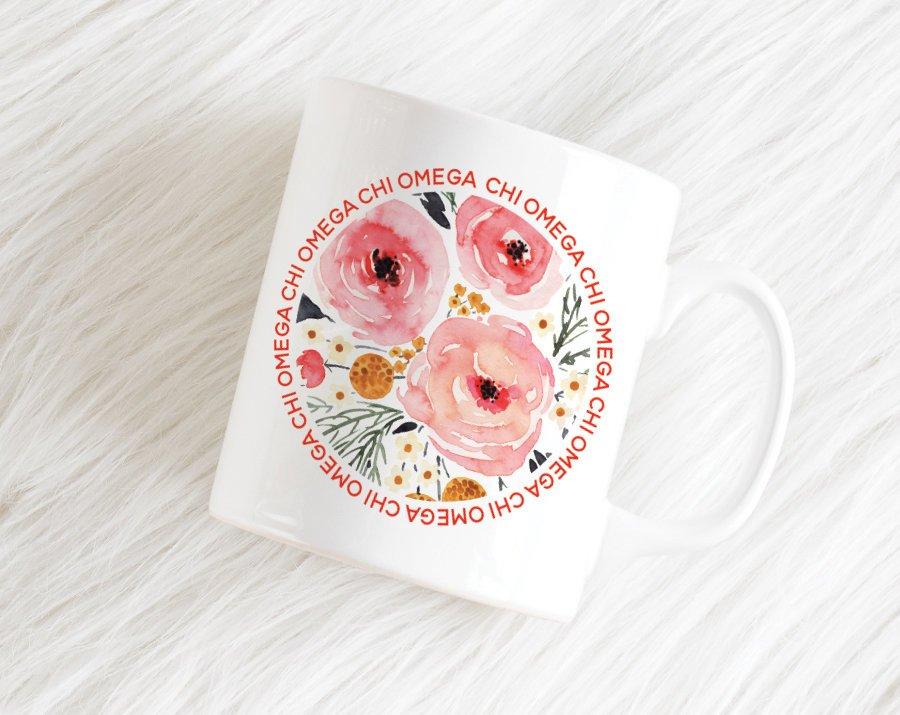 Chi Omega Floral Circle Mug
