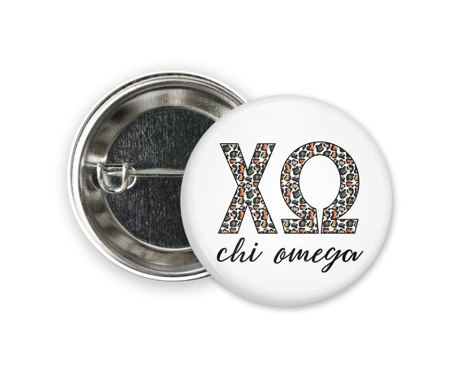 Chi Omega Leopard Button