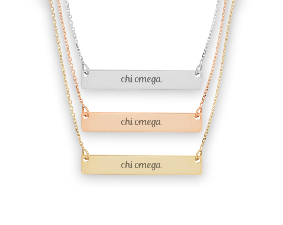 Chi Omega Script Bar Necklace